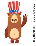Funny Cartoon Fat Bear Wearing...
