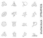 sports icons thin line drawing... | Shutterstock .eps vector #199649426