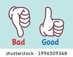 good  bad hand sign   vector... | Shutterstock .eps vector #1996509368