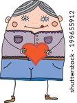 funny cartoon man with heart in ... | Shutterstock .eps vector #199655912