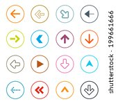 outline arrows set in circles... | Shutterstock . vector #199661666