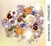 vector cute roses in vintage... | Shutterstock .eps vector #199668182