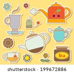 cute tea time elements with... | Shutterstock .eps vector #199672886