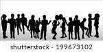 vector silhouette of children... | Shutterstock .eps vector #199673102