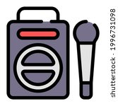 boombox icon with outline style ...
