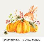 Watercolor Vector Rabbit With...
