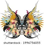 colored butterfly wings with... | Shutterstock .eps vector #1996756055