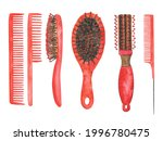 Set Of Red Hairbrush Isolated...