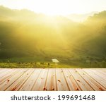 green tea plantation with wood... | Shutterstock . vector #199691468