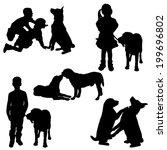 vector silhouette of children...   Shutterstock .eps vector #199696802