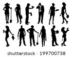 vector silhouettes of different ... | Shutterstock .eps vector #199700738