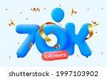 70k followers thank you 3d blue ...   Shutterstock .eps vector #1997103902