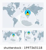 magnified saint lucia over map... | Shutterstock .eps vector #1997365118