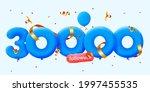 30000 followers thank you 3d...   Shutterstock .eps vector #1997455535