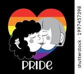 lesbian couple kissing  gay...   Shutterstock .eps vector #1997457398