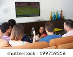 group of friends sitting on... | Shutterstock . vector #199759256