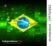 Flag. Glowing background with flag colors. Independence Day. Techno background. Abstract background. Used as an background, card, greeting, printed materials. Flag of Brazil