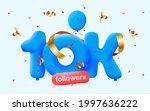 10k followers thank you 3d blue ... | Shutterstock .eps vector #1997636222