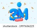 2m followers thank you 3d blue...   Shutterstock .eps vector #1997636225