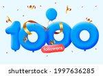 1000 followers thank you 3d...   Shutterstock .eps vector #1997636285