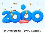 2000 followers thank you 3d...   Shutterstock .eps vector #1997638868