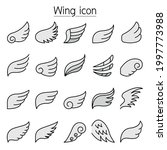 wing icons set fill color line...   Shutterstock .eps vector #1997773988