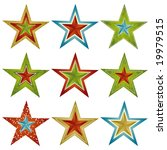 nine color christmas star  ... | Shutterstock .eps vector #19979515