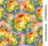 watercolor flower background.... | Shutterstock .eps vector #199800812