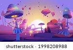 alien planet landscape with...