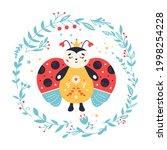 ladybug in cartoon style. red...   Shutterstock . vector #1998254228