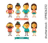 set of characters with happy... | Shutterstock .eps vector #199826252