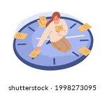 person sitting on clocks ... | Shutterstock .eps vector #1998273095