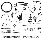 hand drawn set of curly swishes ... | Shutterstock .eps vector #1998280622