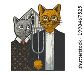 american gothic cats color line ... | Shutterstock .eps vector #1998467525