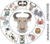 taurus vector of astrology...   Shutterstock .eps vector #1998476558
