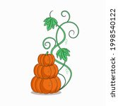 three pumpkins placed on top of ... | Shutterstock .eps vector #1998540122