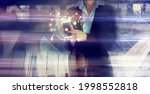 business woman works with... | Shutterstock . vector #1998552818