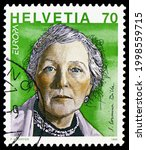 Small photo of MOSCOW, RUSSIA - JUNE 20, 2021: Postage stamp printed in Switzerland shows Corinna Bille (1912-79) writer, Europa (C.E.P.T.) 1996 - Famous Women serie, circa 1996
