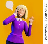 businesswoman waving her hand... | Shutterstock . vector #1998563132