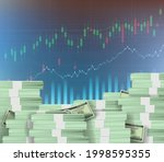 stacks of dollar paper money.... | Shutterstock .eps vector #1998595355