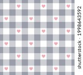 vichy check pattern with hearts ... | Shutterstock .eps vector #1998643592