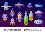 cartoon alien spaceship.... | Shutterstock .eps vector #1998727172