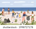 people collecting garbage on... | Shutterstock .eps vector #1998727178