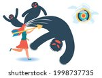 a woman in the face of fears.... | Shutterstock .eps vector #1998737735