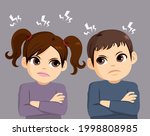 two siblings angry on a fight... | Shutterstock .eps vector #1998808985