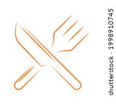 knife and fork cutlery on white ... | Shutterstock .eps vector #1998910745
