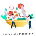 people eating vegetarian food ...   Shutterstock .eps vector #1998921215