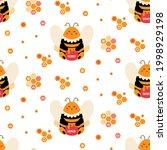 bee vector seamless pattern....   Shutterstock .eps vector #1998929198