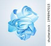 folded blue ribbon shape... | Shutterstock .eps vector #1998947015