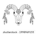 animal skull in boho style with ... | Shutterstock .eps vector #1998969155